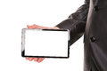 Businessman s hand showing a tablet pc comuter with blank screen for your sample text isolated on white Stock Image