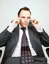 Businessman. Sceptical or interested. Royalty Free Stock Photo