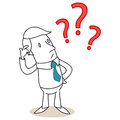 Businessman scratching head question marks vector illustration of a monochrome cartoon character clueless his with three red Stock Photography
