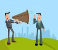 Businessman screaming with megaphone Royalty Free Stock Image
