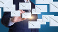 Businessman sends emails. Royalty Free Stock Photo