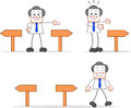 Businessman set cartoon happy and walking to his true way Stock Images