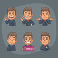 Businessman Set of 6 Poses Stickers Pack Part 2 Royalty Free Stock Photo