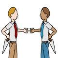 Businessman and shake back stabbing