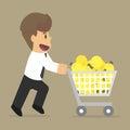 Businessman shopping bulbs idea