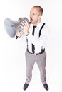 Businessman shouting on his megaphone angry with loudspeaker Royalty Free Stock Photos