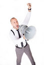 Businessman shouting on his megaphone angry with loudspeaker Stock Image