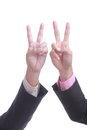 Businessman show finger v sign with concept win win Royalty Free Stock Photo