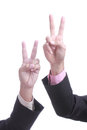 Businessman show finger v sign with concept win win Royalty Free Stock Photos