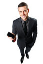 Businessman showing blank smartphone screen happy isolated on a white backgorund Royalty Free Stock Photos