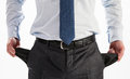 Businessman showing his empty pockets closeup shot Stock Image
