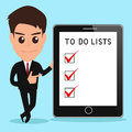 Businessman shows to do lists on tablet screen vector illustration Stock Photography