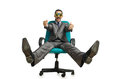 Businessman sitting in the chair Stock Photo
