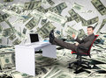 Businessman sitting on chair with table laptop Royalty Free Stock Photo