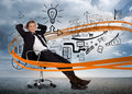 Businessman sitting in front of detailed brainstorm with orange swirl desert landscape Stock Photography