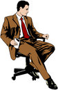 Businessman sitting on office chair Royalty Free Stock Images