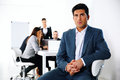 Businessman sitting on the office chair in front of business meeting Stock Image