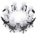 Businessman sitting at the round table isolated render on a white background Stock Photo