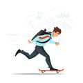 Businessman on skateboard hurrying to the office.