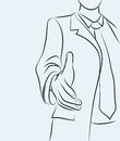 Businessman sketchy illustration holds out his hand for a handshake Royalty Free Stock Images