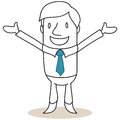 Businessman smiling with open arms vector illustration of a monochrome cartoon character welcoming gesture standing on his toes Stock Image