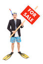 Businessman with snorkel holding for sale sign full length portrait of a isolated on white background Stock Image