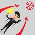Businessman soar to target with idea vector illustration Stock Photos
