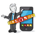 Businessman and social media cartoon with smartphone concept Stock Photography