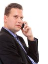 Businessman speaking on his mobile isolated portrait of a confident mature man white background Royalty Free Stock Image