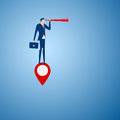 Businessman stand on map pointer using telescope looking for success, opportunities, future business trends. Vision concept