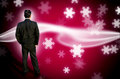 Businessman standing at abstract snow background Royalty Free Stock Image