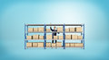 A businessman standing behind a metal warehouse rack full of boxes on blue background. Royalty Free Stock Photo