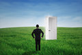 Businessman standing at an opportunity door young on the green meadow Royalty Free Stock Images