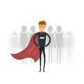 Businessman standing out from the crowd. Business idea and leade