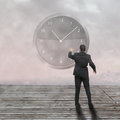 Businessman standing time strategy concept incolor Stock Photography