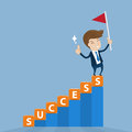Businessman standing on top of success stairway with flag of vi cube lettering victory vector illustration for concept Royalty Free Stock Photography