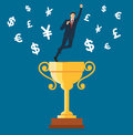 Businessman standing on the trophy cup with money symbol icon vector, business concept illustration
