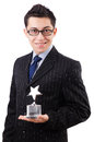 Businessman with star award isolated on white Stock Photography