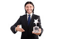 Businessman with star award isolated on white Royalty Free Stock Images