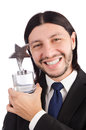 Businessman with star award isolated on white Stock Photos