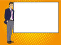 Businessman stays next to blank white board. Pop art comics retro style vector illustration. Put your own text