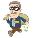 Businessman stealing money vector illustration of a with a sack on his hand Stock Images