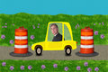 Businessman Stuck Road Construction Driving Work