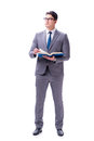 The businessman student reading a book isolated on white background Royalty Free Stock Photo