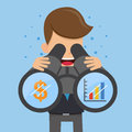 Businessman in Suit and Binoculars Looking at the Graphs and Dollar Symbol. Concept business vector illustration Flat Style.