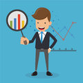 Businessman in Suit looking Graphs with Magnifying Glass. Business and Finance Concept, Vector Illustration Flat Style.