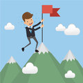 Businessman in Suit Successful Standing with Red Flag on Mountain Peak. Concept business vector illustration Flat Style.