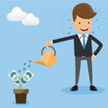 Businessman in Suit Watering Money Tree. Concept business vector illustration Flat Style.