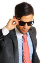 Businessman with sunglasses portrait of a over white background Stock Photos