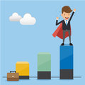 Businessman Superhero in Suit on Top Height Graph. Concept business vector illustration Flat Style.